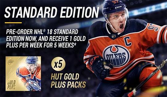 NHL 18 zlaté balíčky za předobjednávku
