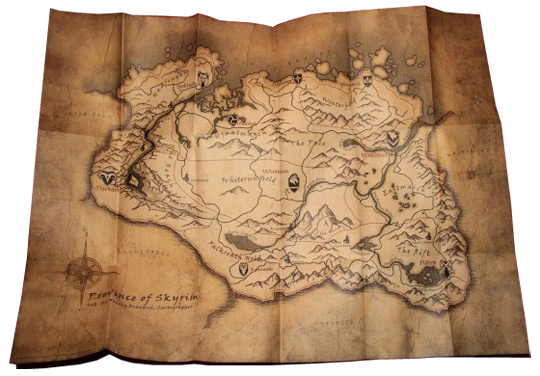 Tištěná prémiová mapa provincie Skyrim na GameLeader
